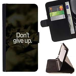 - Don't Give Up - - Monedero PU titular de la tarjeta de cr?dito de cuero cubierta de la caja de la bolsa FOR Samsung Galaxy S5 Mini, SM-G800 Retro Candy