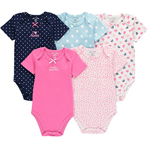 - Wan-A-Beez 5 Pack Baby Girls' and Boys' Newborn and Infant Cotton Short Sleeve Bodysuits (18 Months, Heart)