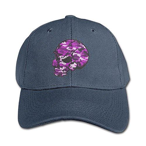 Hhil Swater Children Girls Boys Skull Purple Camouflage Flat Bill Outdoor Baseball Cap (Bald Skull Cap Costume)