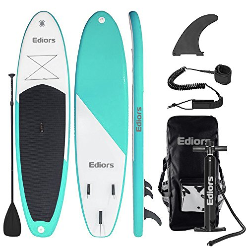 Inflatable SUP Stand Up Paddle Board (6 Inches Thick) Universal Wide Stance w/Bottom Fin for Paddling and Surf Control | Non-Slip Deck | Youth and Adult Aqua