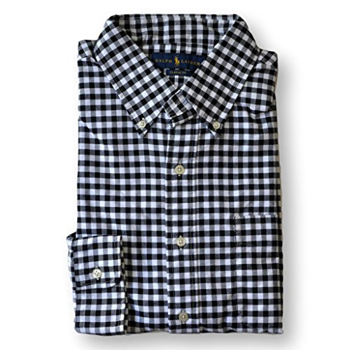 Ralph Lauren Mens Classic Fit Oxford Button-down Shirt (M, Black/White) by RALPH LAUREN