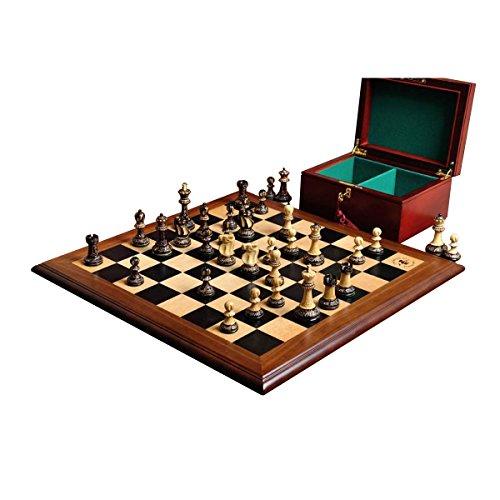 The House of Staunton The Burnt Reykjavik II Series Chess Set, Box, Board Combination