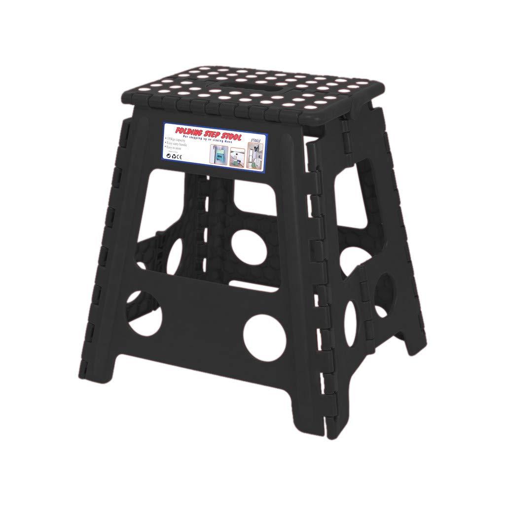 Fan-Ling Multi Purpose Folding Step Stool,Home Plastic Folding Stool, Portable Light Sturdy Outdoor Fishing Folding Stool,Bathroom Bench,Foldable (Black 4) by Fan-Ling