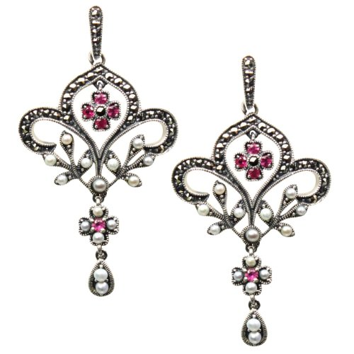 Fleur-de-lis Ruby Cultured Seed Pearl Sterling Silver Earrings - Dahlia Vintage Collection