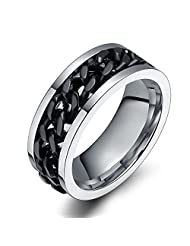 8mm Cool 316l Stainless Steel Center Cuban Curb Chain Spinner Ring Bands for Men,Comfort Fit