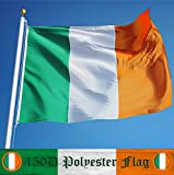 G128- Irish Flag 3x5 ft Printed Brass Grommets 150D Quality Polyester Flag Indoor/Outdoor - Much Thicker and More Durable than 100D and 75D Polyester