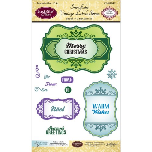 JustRite Clear Stamp Set, 4-Inch x 6-Inch, Snowflake Vint...