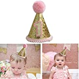 Gold Glitter Sparkle Princess 1st Birthday Cone Hat with Adjustable Headband for Baby Girl Party Supplies(Pink)