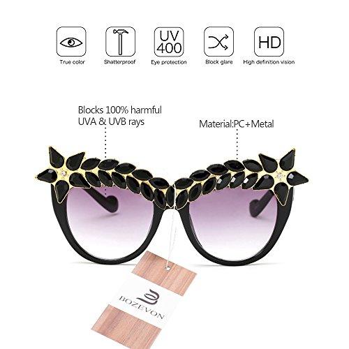 Décoré 04 Uv400 Diamant Haut De Luxe Classique Style Lunettes Bozevon Protection Rétro Soleil Femmes Gamme 60dwv