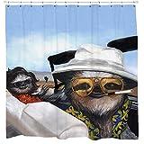 Sloth Vegas shower curtain, johnny depp, hunter s thompson, Leaving Las Vegas sloth shower, fun gifts for men, Slothzilla, desert, cactus, las vegas, waterproof polyester shower curtain