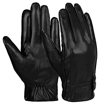 Vbiger Mens Winter Gloves PU Leather Touch Screen Gloves