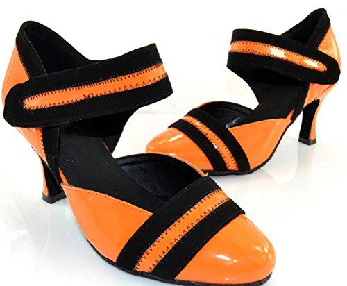 Fifly Donna Comfort Latino Moderno Tango Cha-cha Tacco Personalizzato Punta Chiusa Scarpe Da Ballo Professionali Arancione