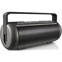 KOCASO Bluetooth 3.0 Ultra Portable Wireless Boom Box Lightweight Small Loud Speaker with Carrying Pull-Up Handle, Built-In Speakerphone, AUX Jack, Smartphone Support, Samsung, iPhone, Droid - Black