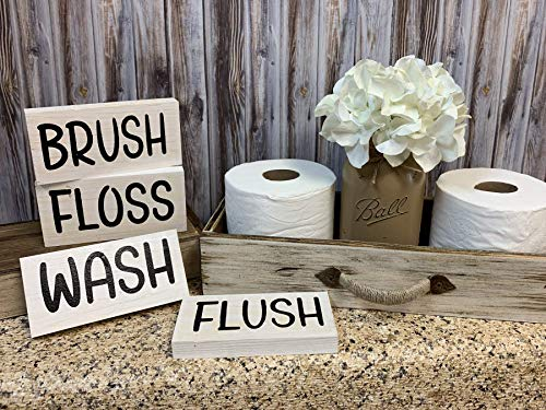Lodge Toilet Brush - BATHROOM Sign BLOCK (sold individually) Brush, Floss, Wash, Flush, Save Water Shower Together, Nice Butt, Wash your hands, Get Naked 3x6 White & Black Wood Funny Humor Bath decor