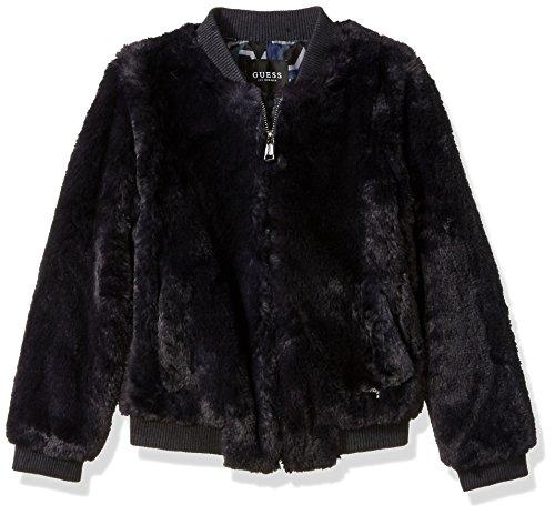 GUESS Girls' Big Faux-Fur Star Bomber Jacket, Deck Blue, 16 (Flight Deck Jacket)