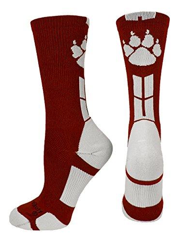 Wild Paws Crew Socks (Maroon/White,
