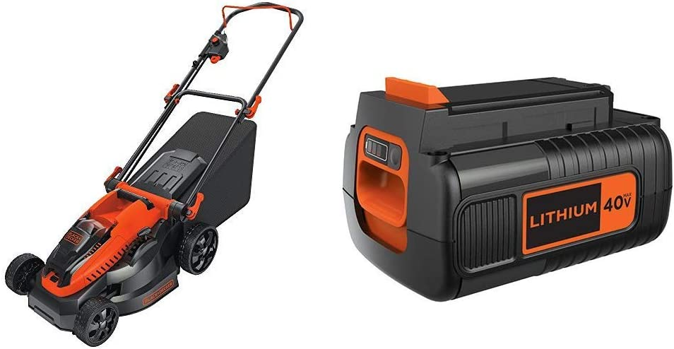 BLACK+DECKER 40V MAX Cordless Lawn Mower with Extra Battery, 2.0-Ah (CM1640 & LBX2040)
