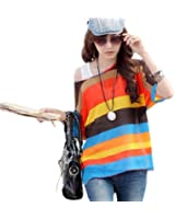 Waltzmart Women's Batwing Dolman Sleeve Chiffon T-Shirt Boho Loose Blouse