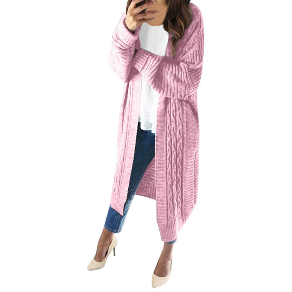 Dermanony Women Sweater Cardigan Pure Color Long Sleeved Lightweight Casual Knitted Coat Winter Warm Sweater Outwear Pink by Dermanony _Coat