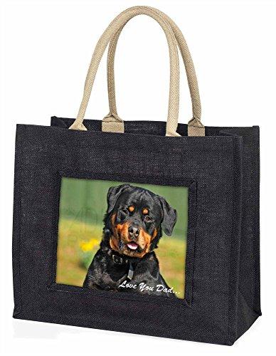Advanta–Große Einkaufstasche Rottweiler Hund Love You Dad Große Einkaufstasche Weihnachtsgeschenk Idee, Jute, schwarz, 42x 34,5x 2cm