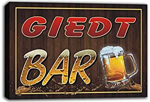 scw3-109516 GIEDT Name Home Bar Pub Beer Mugs Cheers Stretched Canvas Print Sign