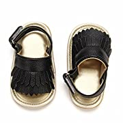 Baby Sandal with PU Leather Tassels Non-Slip Summer Toddler Slipper 0 6 12 18 24Months (11cm Sole(0-6 Months), Black)