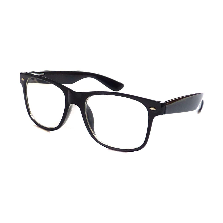 e5887b60e374 Amazon.com  KIDS Childrens Nerd Retro Oversize Black Frame Clear Lens Eye  Glasses (Age 3-10)  Clothing