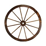 TreasureGurus, LLC Large 32″ Wood Wagon Wheel Outdoor Rustic Yard or Garden Decor For Sale