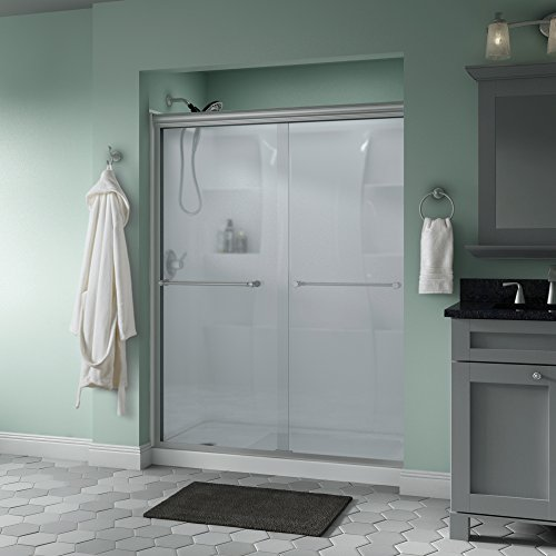 "Delta Shower Doors SD3172311 Windemere 60"" x 70"" Semi-Frameless Traditional Sliding Shower Door in Nickel with Niebla Glass"