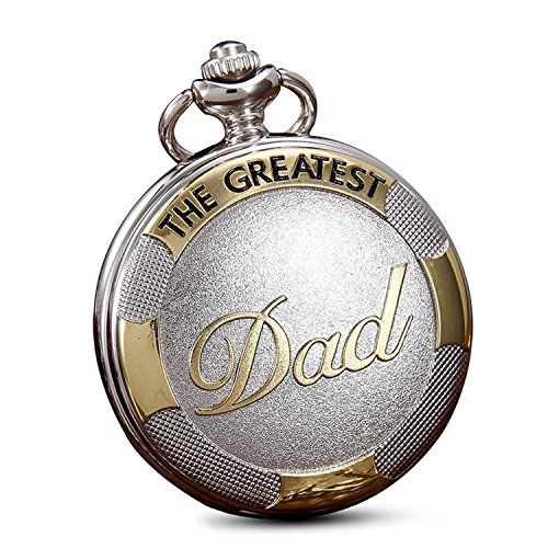 Men's Silver Daddy Dad Pocket Watches with Waist Chain,Quartz Movement Fob Watches for Men Father's Gifts -
