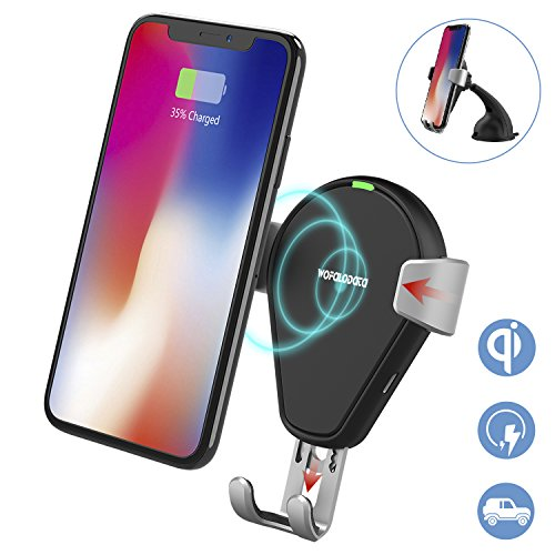 Wireless Car Charger,Wofalodata Qi Fast Wirelss Charging Car Cradle Air Vent Gravity Phone Holder for Samsung Galaxy S9/S9 Plus/S8/ S8 Plus/ S7/ S6 Edge+/ Note 5, QI Wireless Standard Charger for iPhone 8/ 8 Plus/ X