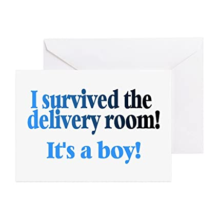 cafepress i survived the delivery room its a boy greetin greeting - Birthday Card Delivery
