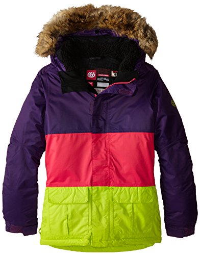 686 Girls Polly Insulated Jacket (Big Kids), Violet Colorblock, Medium (686 Boys Snowboard Jacket)