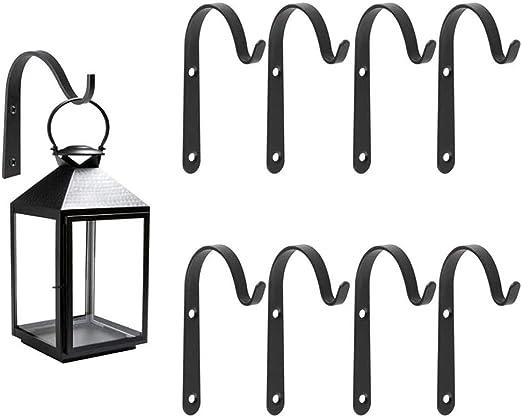 2 Ganchos de Soporte de Pared de Jard/ín de Hierro Negro para Cestas Colgantes BOROMI Soporte para Plantas Colgantes de Pared Comederos de P/ájaros Linternas y Campanillas de Viento
