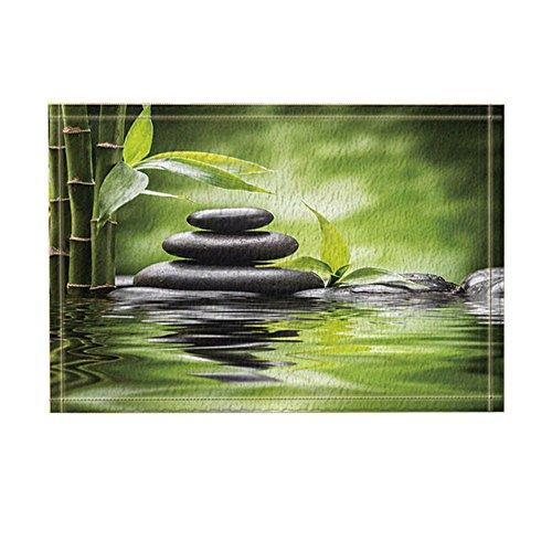 KOTOM Spa Decor, Zen Garden Theme Basalt Stones and Bamboo in Water Bath Rugs, Non-Slip Doormat Floor Entryways Indoor Front Door Mat, Kids Bath Mat, 15.7x23.6in, Bathroom Accessories by KOTOM