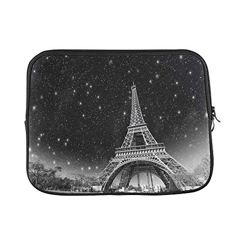 Design Custom Wonderful Night View of Eiffel Tower in Paris Sleeve Soft Laptop Case Bag Pouch Skin for MacBook Air 11(2 Sides)
