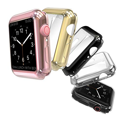 GeeRic Compatible for New Apple Watch Case Series 4 (40mm) Screen Protector 5 Pack, Soft Slim Full-Around Protective iWatch 4 Case Cover for Apple Watch 4, 5 Color-Clear/Black/Silver/Gold/Rose Gold