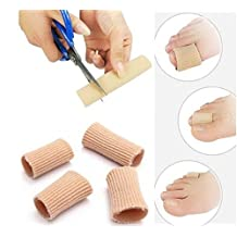 Hammer Toe Finger Cushion Gel Tube Finger Protector Toe Separators -2 Silicone Tubes/Sleeves for Instant Pain Relief -Protectors for Sore Toes and Fingers, Callus, Corn, Blister