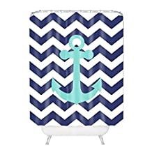 Navy Blue Chevron with Nautical Anchor Polyester Fabric Bathroom Shower Curtain 60*72Inch
