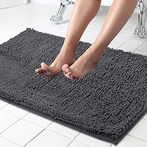 ITSOFT Non Slip Shaggy Chenille Bath Mat for Bathroom Rug Water Absorbent Carpet 34 x 21 Inches Charcoal Gray