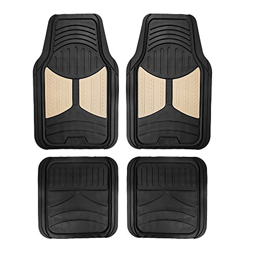 FH Group F11313 Monster Eye Full Set Rubber Floor Mats, Beige/Black Color- Fit Most Car, Truck, SUV, or Van