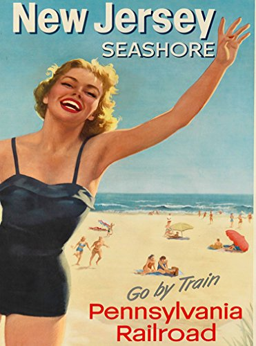 A SLICE IN TIME Jersey Seashore Go Train Pennsylvania Railroad Jersey Shore Jersey United States America Vintage Travel Advertisement Art Poster Print. Poster Measures 10 x 13.5 inches (Best Train Vacations In North America)