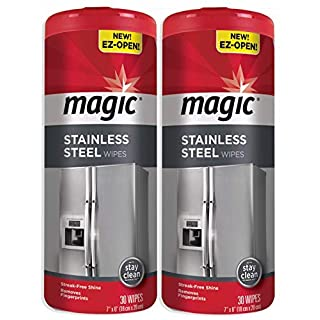 Set of 2 Magic Stainless Steel Wipes Removes Fingerprints, Residue, Water Marks and Grease from Appliances - Works Great on Refrigerators, Dishwashers, Ovens