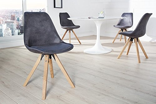 Stuhl Esszimmerstuhl NEW STOCKHOLM Strukturstoff grau Eiche Massiv Retro Design