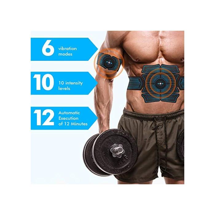51LpN2tZPJL Estimulador Muscular Abdominales Recargable - nuestro nuevo controlador cuenta con una batería incorporada de 200 mAh que le permite recargarlo en cualquier momento. Configuración Adaptable - con 6 programas que proporcionan diferentes frecuencias de impulsos y modos de funcionamiento para adaptarse a las diferentes partes del cuerpo. Cada programa tiene 10 niveles de intensidad para satisfacer todas las necesidades de entrenamiento muscular. Entrenamiento de Abdominales Reforzado - el electroestimulador muscular está diseñado para adaptarse a las curvas naturales de la cintura y el abdomen. Tonifica ambas partes al mismo tiempo, logrando un entrenamiento muscular rápido.