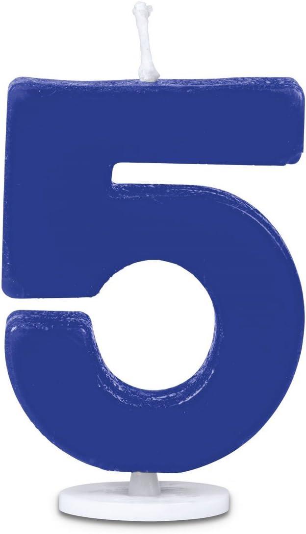 Staedter 5/N/úmero Vela con Soporte 4,5/cm 30 x 30 x 4.5 cm Azul