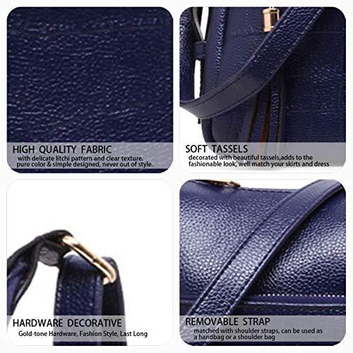 Borsette mano spalla a DEERWORD Messenger Borse da Borse Blu polso Nero Donna a Borse 4tw4zUYx