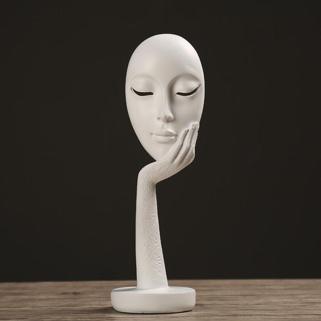Moderna scultura in resina minimalista astratta maschera viso decorazione della casa coperta soggiorno camera da letto ufficio artigianato statua decorazione ( Colore : Nero , dimensioni : 10*29cm ) Sculture