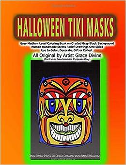 Amazon Com Halloween Tiki Masks Easy Medium Level Coloring