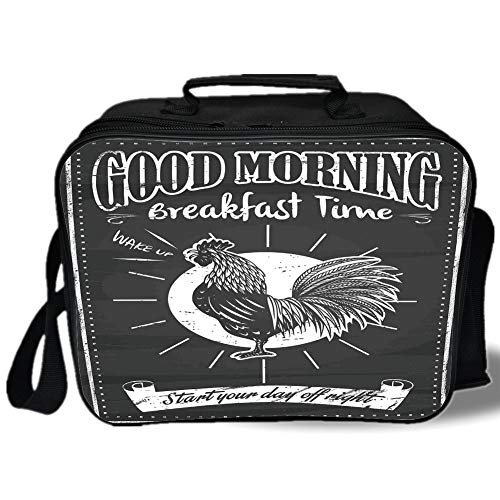 (Kitchen Decor 3D Print Insulated Lunch Bag,Chalkboard Kitchenware Menu Art Morning Rooster Retro Style Cafe Home Design Utensils,for Work/School/Picnic,Black White)